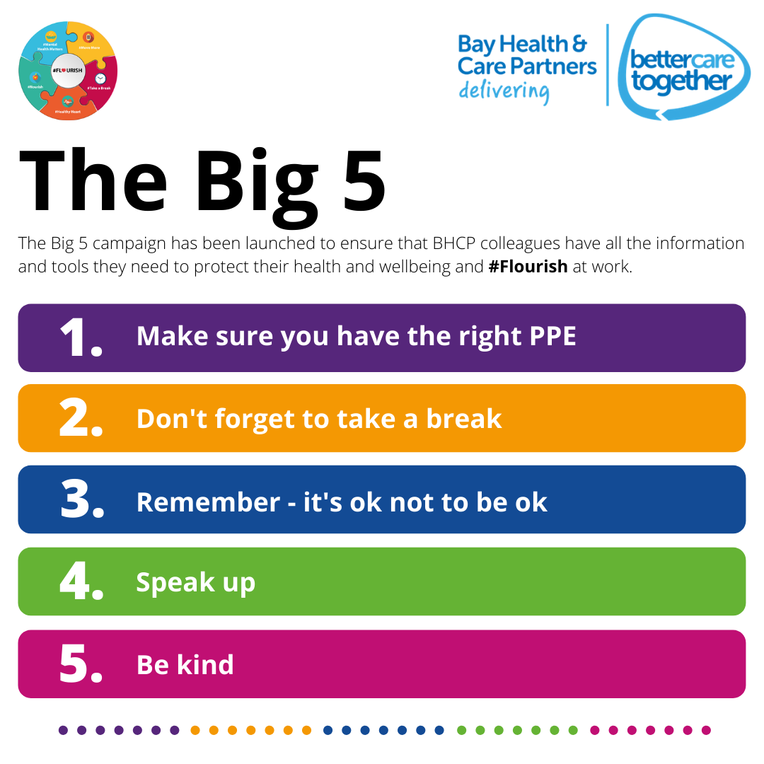 The Big 5 campaign has been launched to ensure that UHMBT colleagues have all the information and tools they need to protect their health and wellbeing and #Flourish at work. (14).png