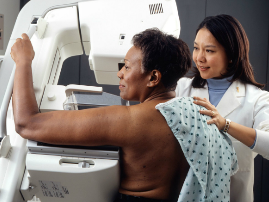 Woman having a mammogram